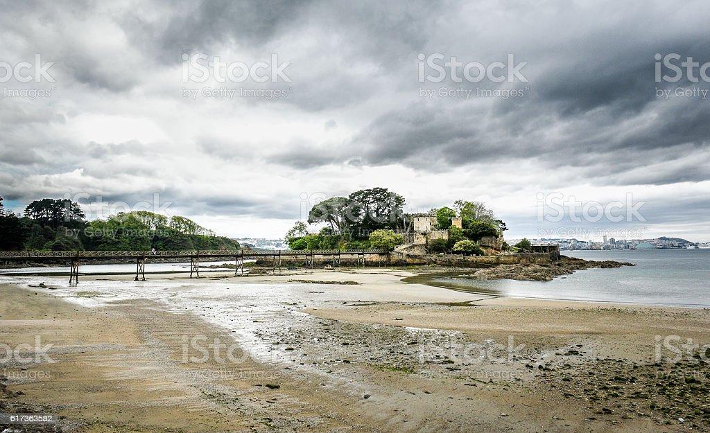 Old bridge in Santa Cruz island, Oleiros, A Coruna, Spain stock photo