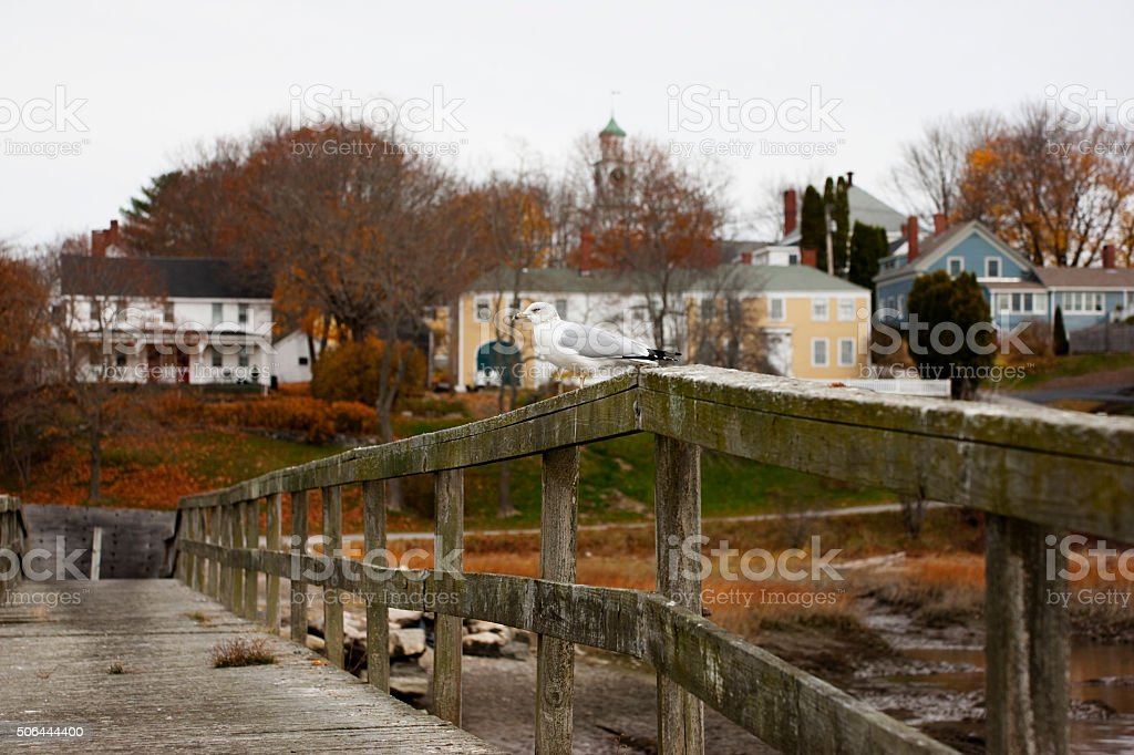 Old bridge in small town in Maine stock photo