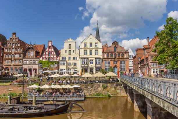 Old bridge in the historic harbor of Luneburg, Germany Luneburg, Germany - May 21, 2017: Old bridge in the historic harbor of Luneburg, Germany lüneburg stock pictures, royalty-free photos & images