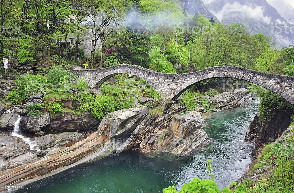 Old bridge in Verzasca royalty-free stock photo