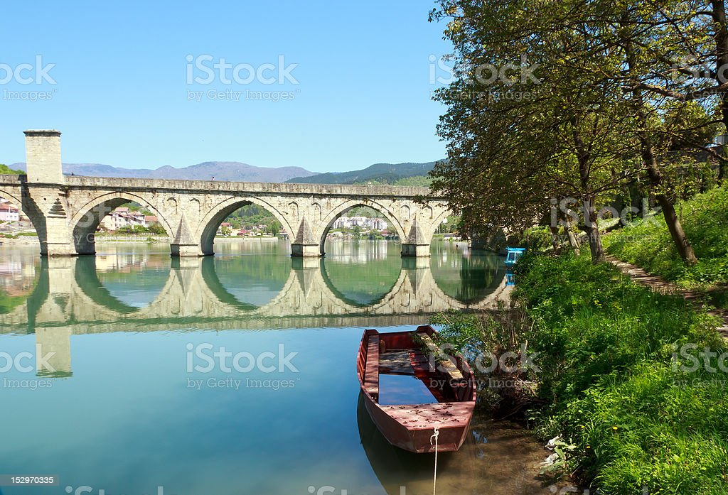 old bridge in Visegrad stock photo