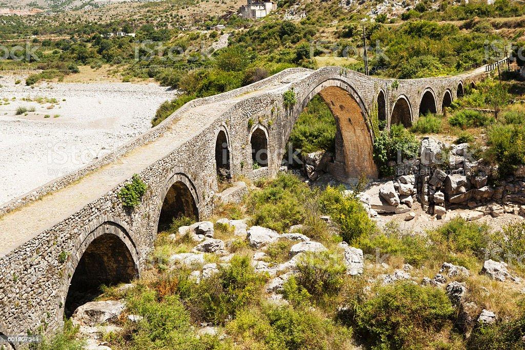Old Bridge Mes in Albania. stock photo