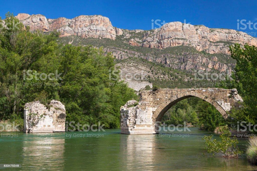 Old Bridge of Camarasa stock photo