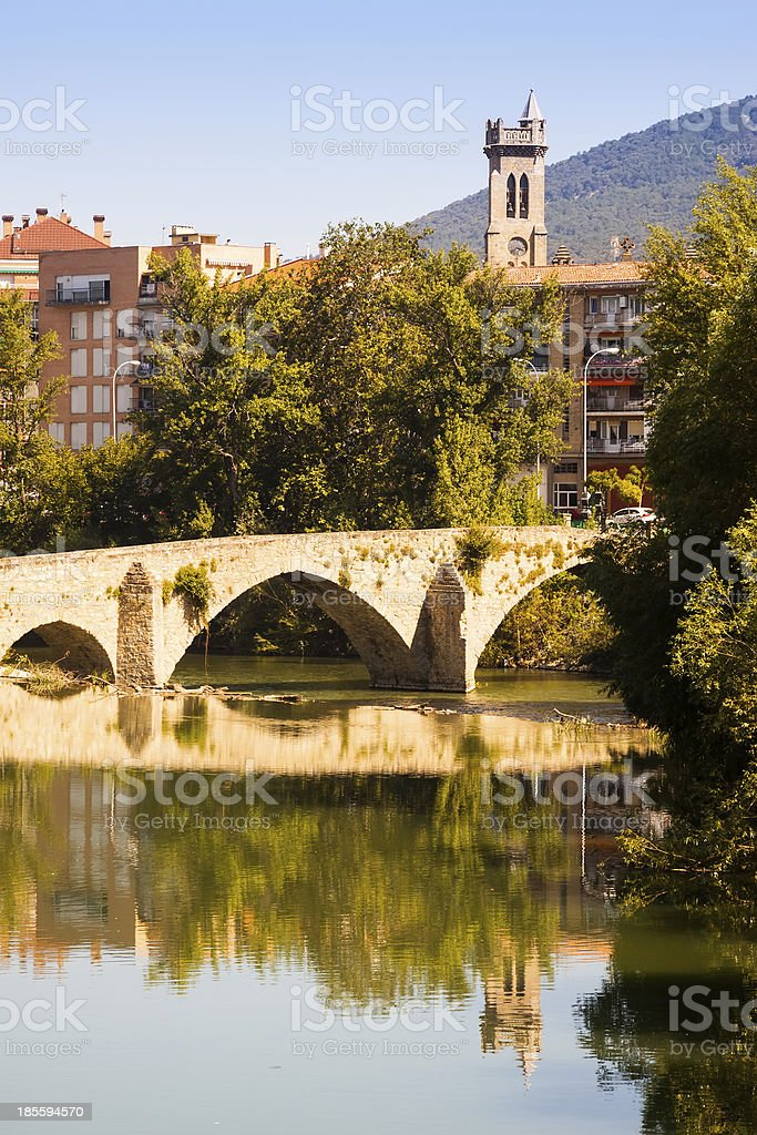 Old bridge over Arga river. Pamplona, Navarre royalty-free stock photo