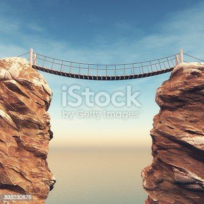 istock Old bridge over between two big rocks 835230876