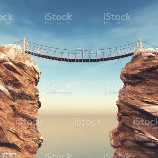 Photo of Old bridge over between two big rocks