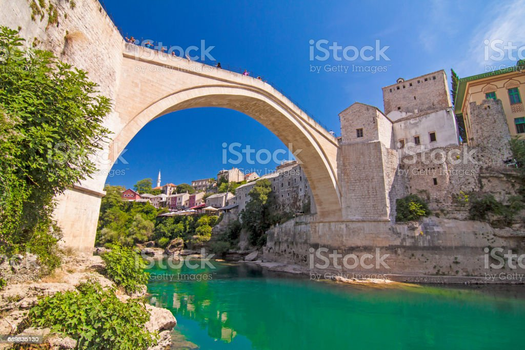 Old bridge over Neretva river in Mostar, Bosnia and Herzegovina stock photo