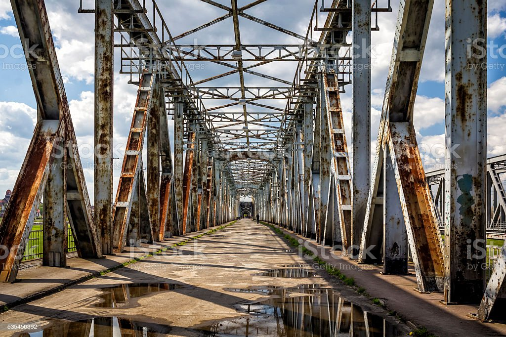 Old bridge over Vistula river in Tczew, Poland stock photo