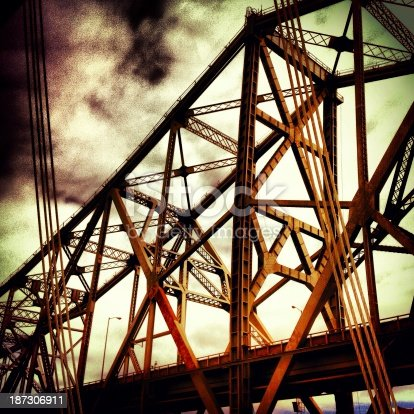 A shot of the old Bay Bridge from the new.  Taken with an iPhone and processed in Instagram.