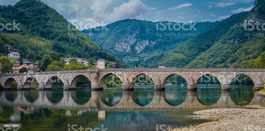 Old bridge Visegrad, Bosnia and Herzegovina stock photo