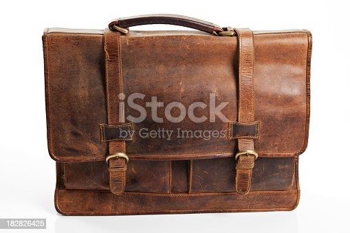 Brown briefcase on the white background