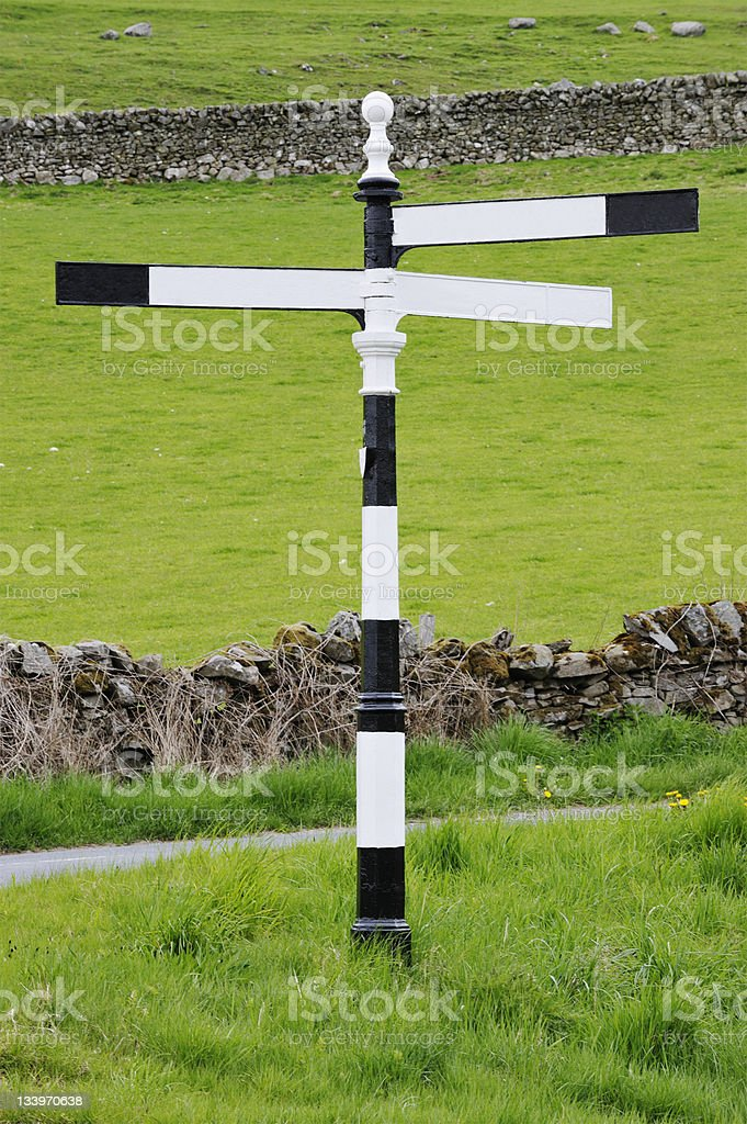 Old British 1950's style cast iron road sign royalty-free stock photo