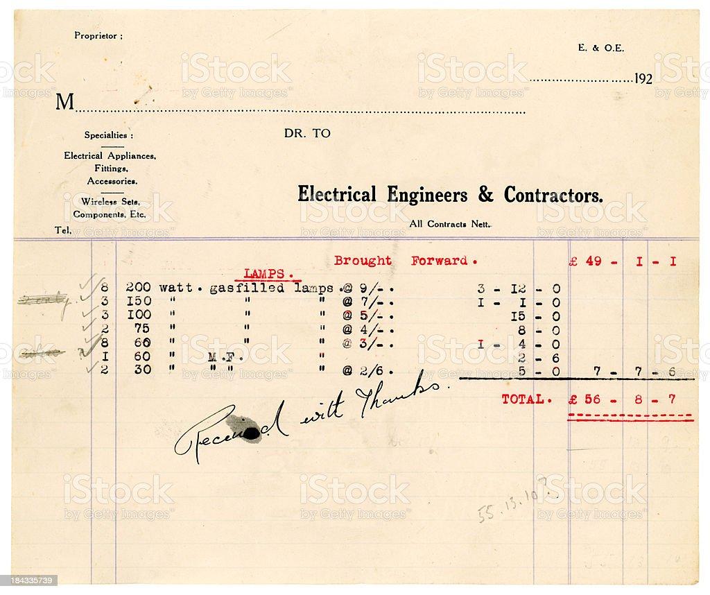 Old British electric light bulbs bill royalty-free stock photo