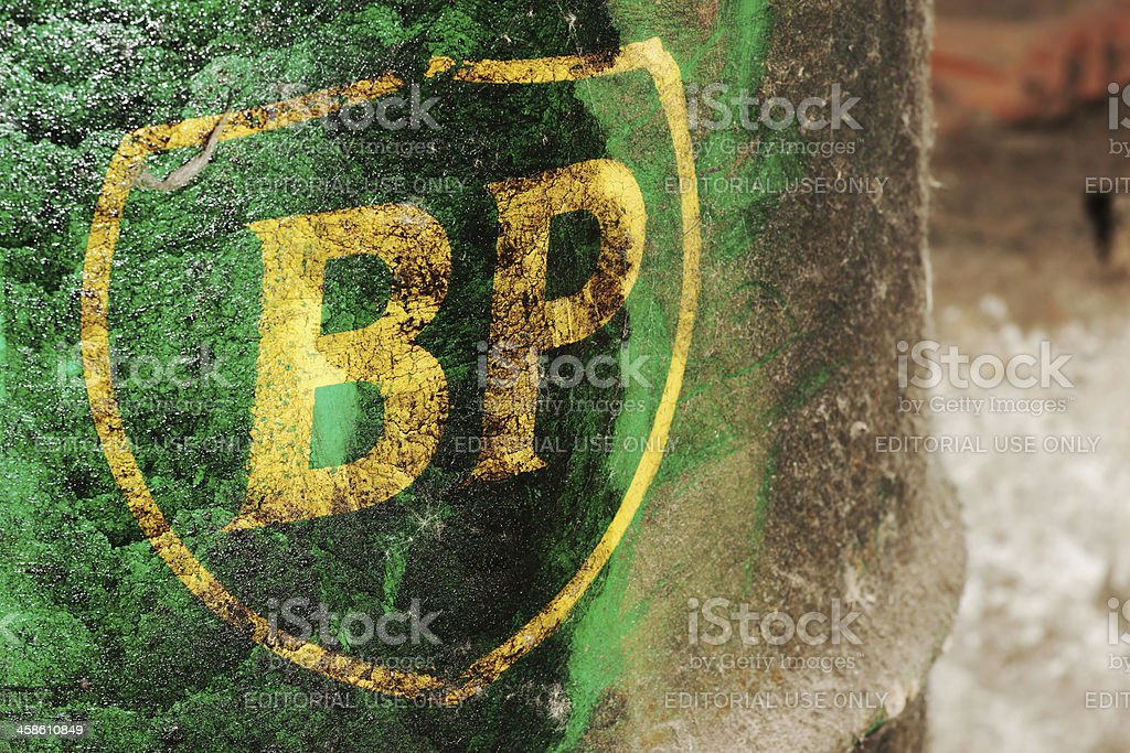 Old British Petroleum logo on a barrel stock photo