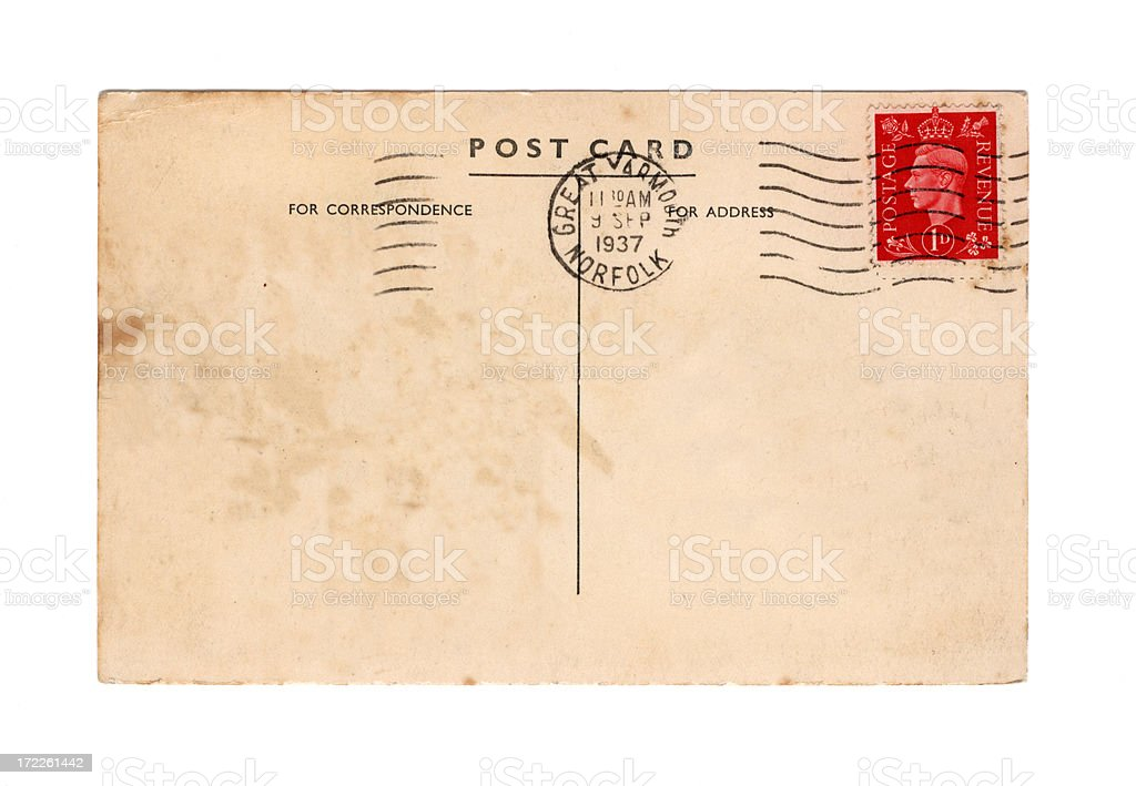 Old British postcard - reign of George VI royalty-free stock photo