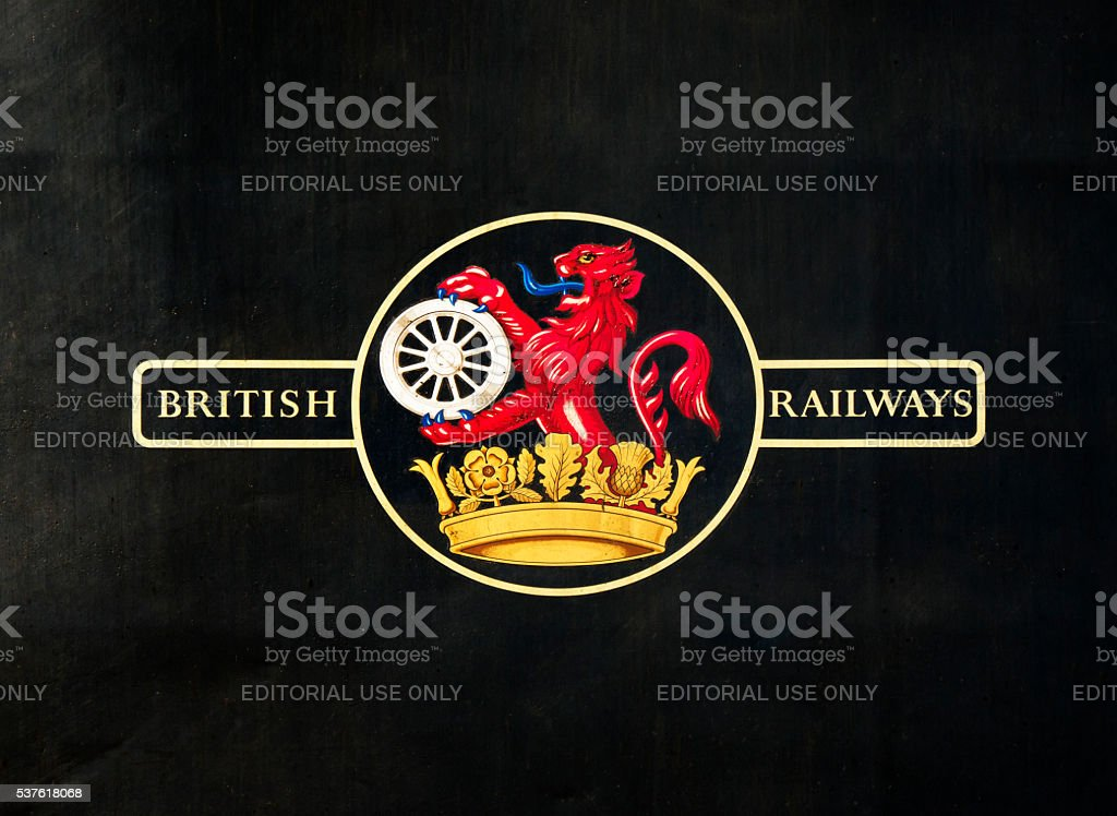Old British Railways logo on a steam engine stock photo