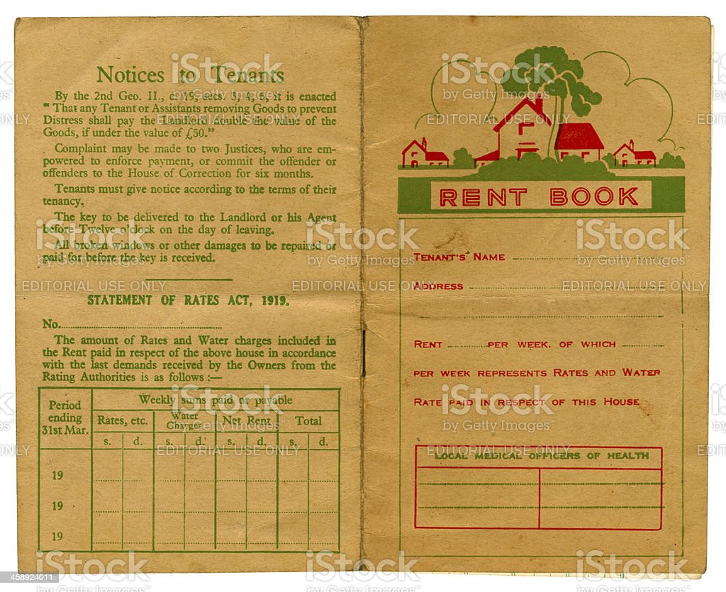 Old British rent book cover stock photo
