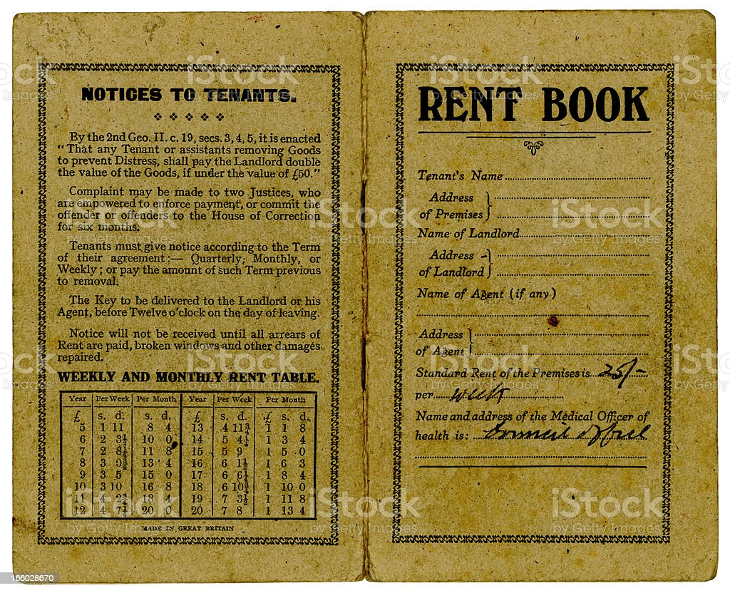 Old British rent book covers 1947 royalty-free stock photo