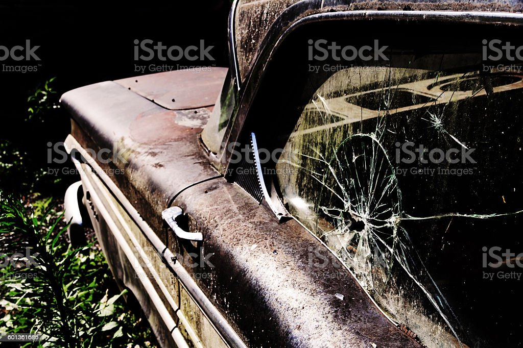 old broken car. Broken disc on an old car stock photo