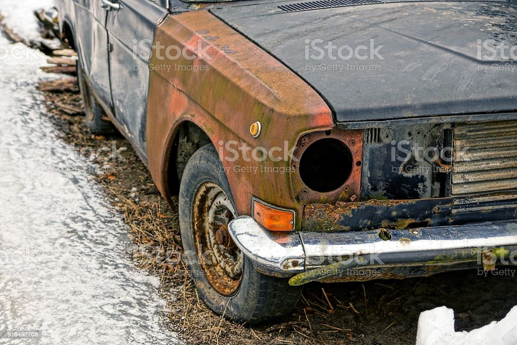 old broken car in winter yard stock photo more pictures of