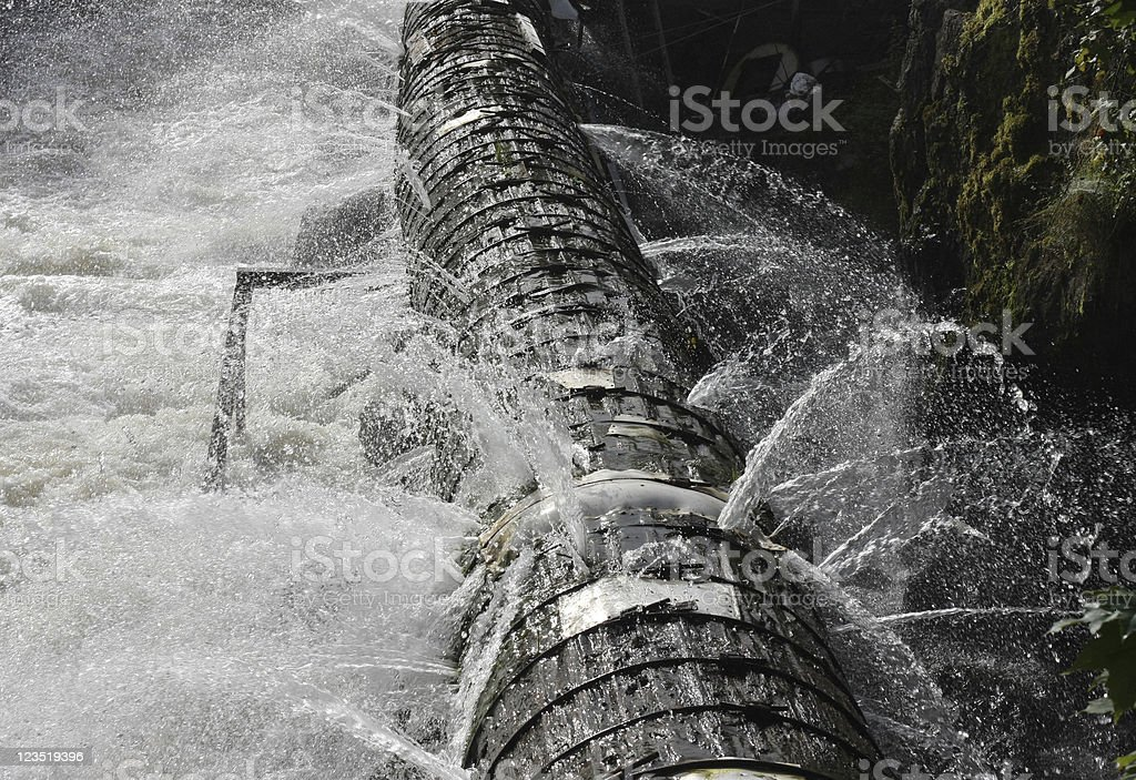 Old broken pipeline stock photo