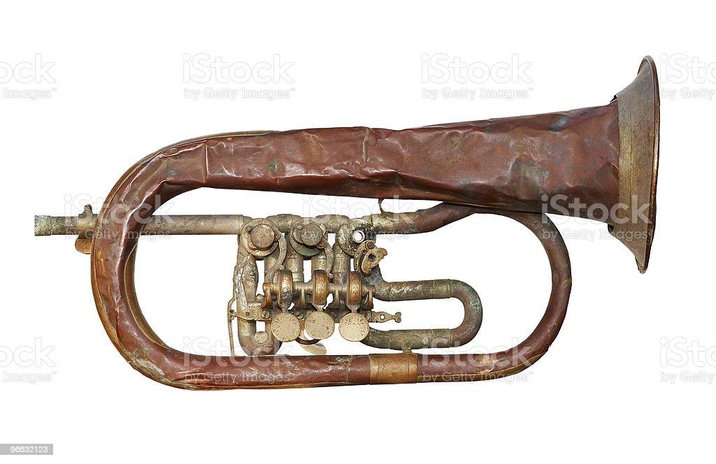 old broken trumpet stock photo