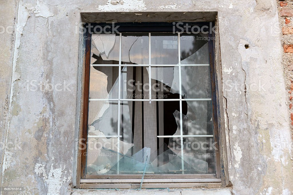 Old broken window stock photo