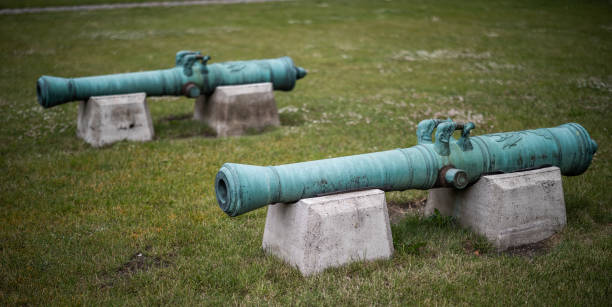 Old bronze cannons in the Citadel, Copenhagen, Denmark stock photo