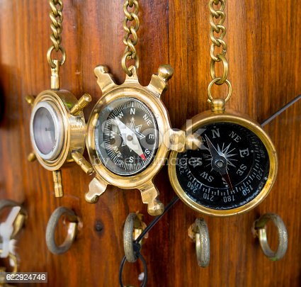 187602778 istock photo Old bronze compasses are hanging on a chain 622924746