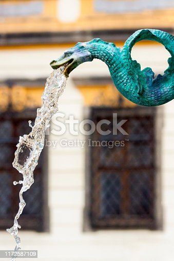 Old bronze dragon water fountain, background with copy space, vertical composition