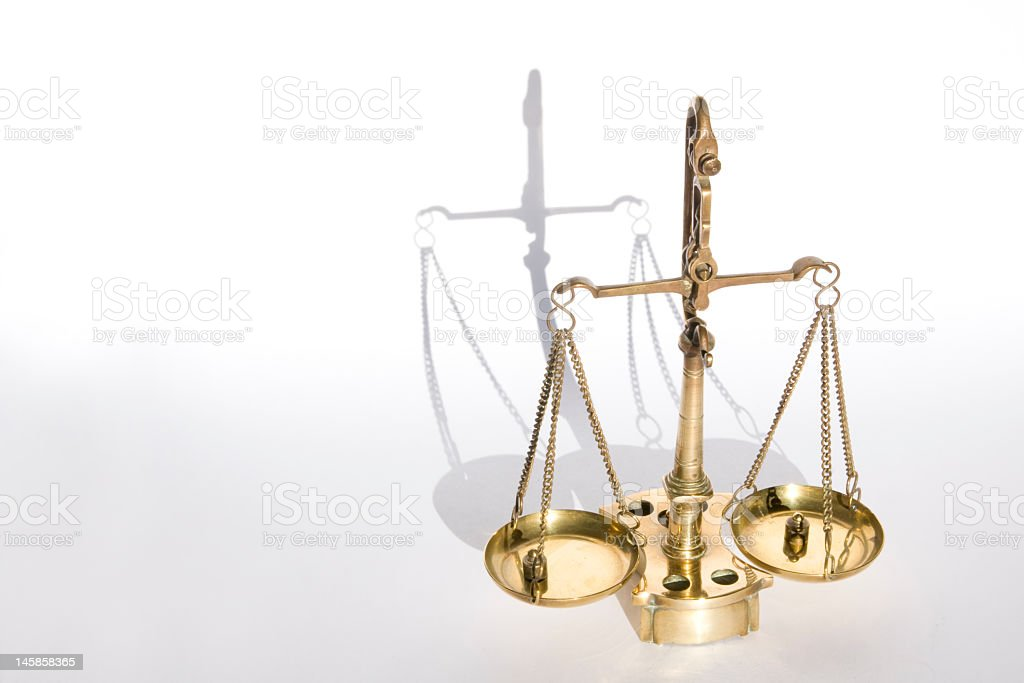 Old bronze scale (with weights) royalty-free stock photo