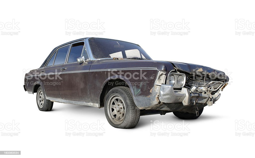Old brown car with damaged front over a white background stock photo