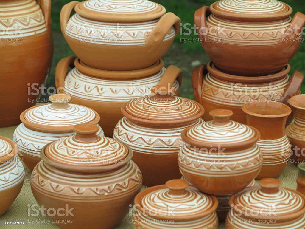 Old Brown Clay Ceramic Pottery Retro Handmade Vases Stock Photo - Download  Image Now