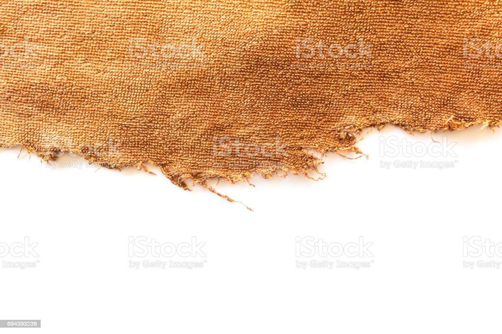 Pano marrom velho isolado no fundo branco - foto de acervo