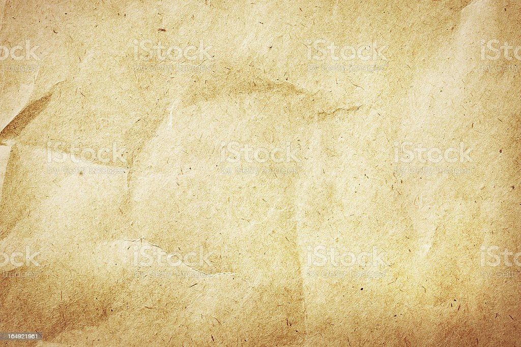 Old brown crumpled paper texture royalty-free stock photo