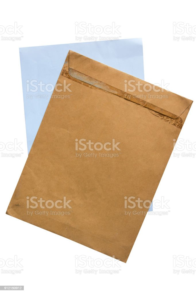 Old brown envelope and paper isolate on white background stock photo