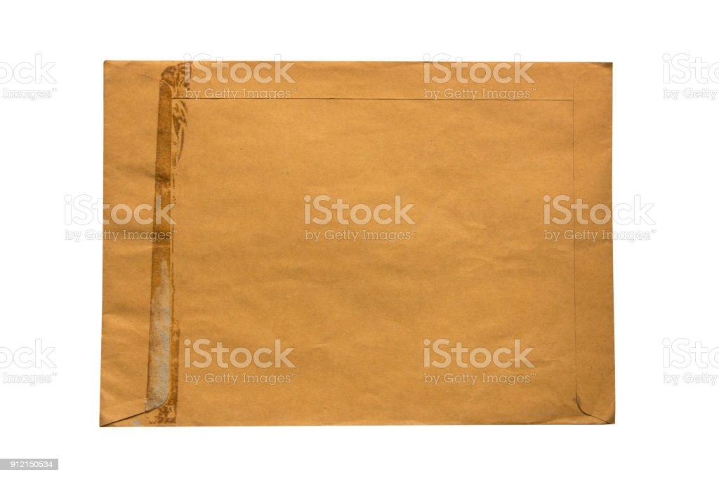 Old brown envelope  isolate on white background stock photo