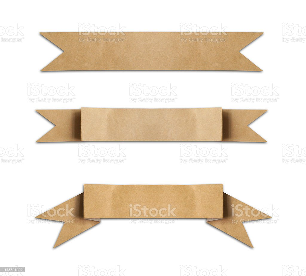 Old brown paper label banners layout on a white background stock photo