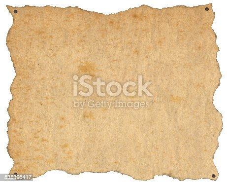 924754302 istock photo Old Brown Paper with Nails 538395417