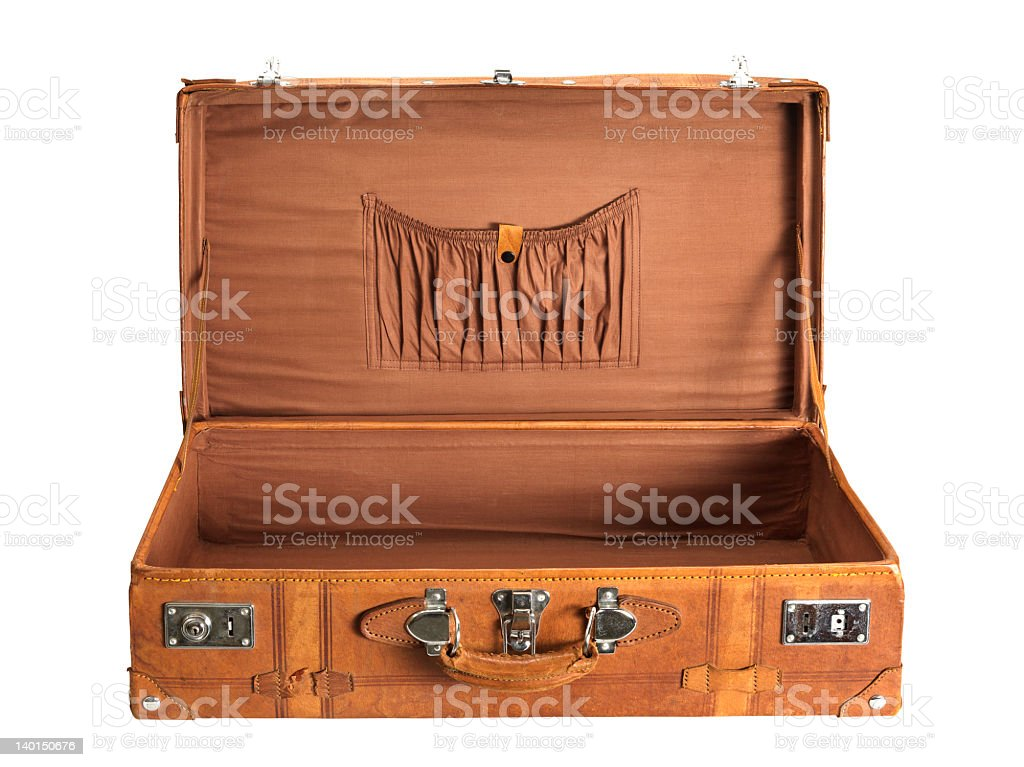 Old brown rectangular suitcase over a white background royalty-free stock photo