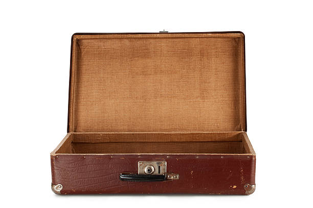 Old brown suitcase for travel stock photo