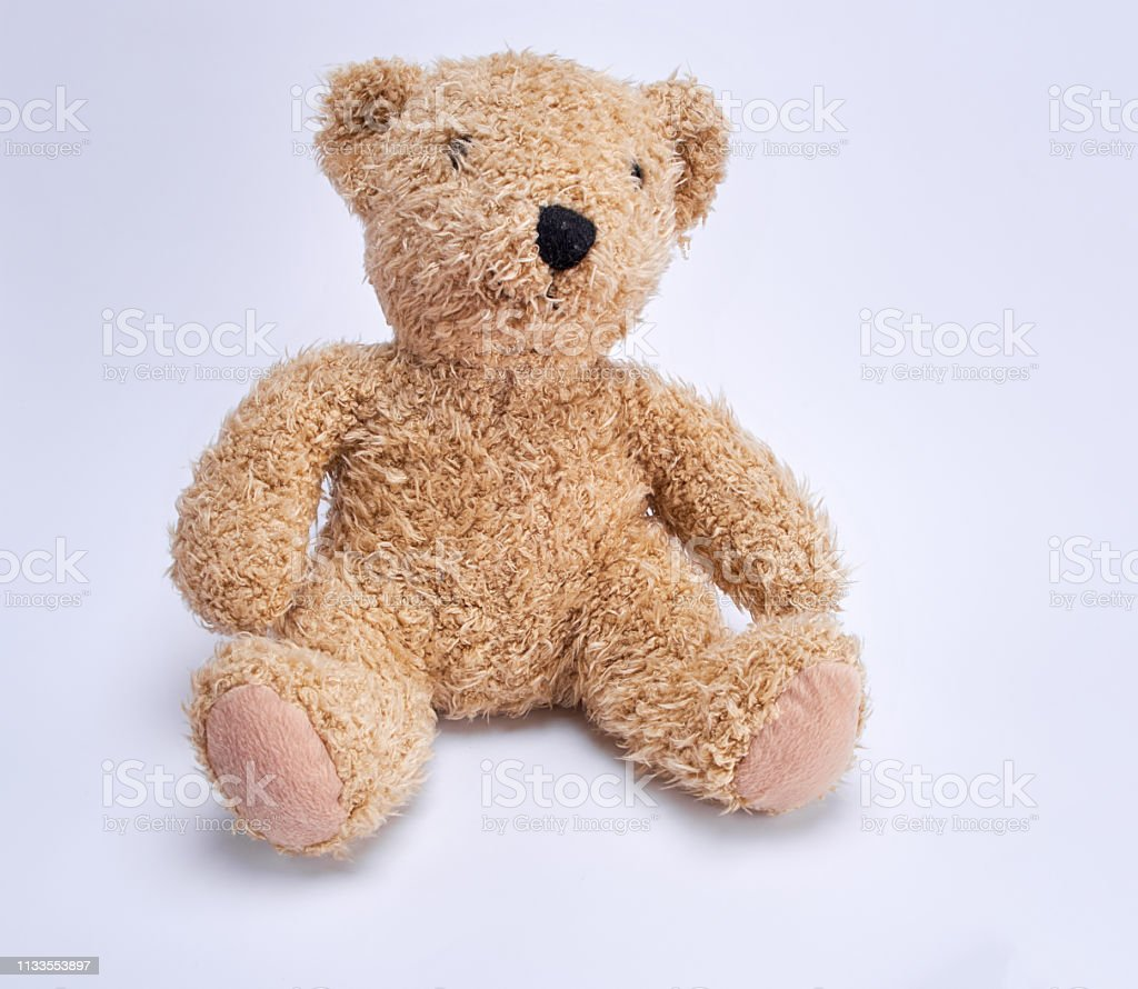 old brown teddy bear on a white background