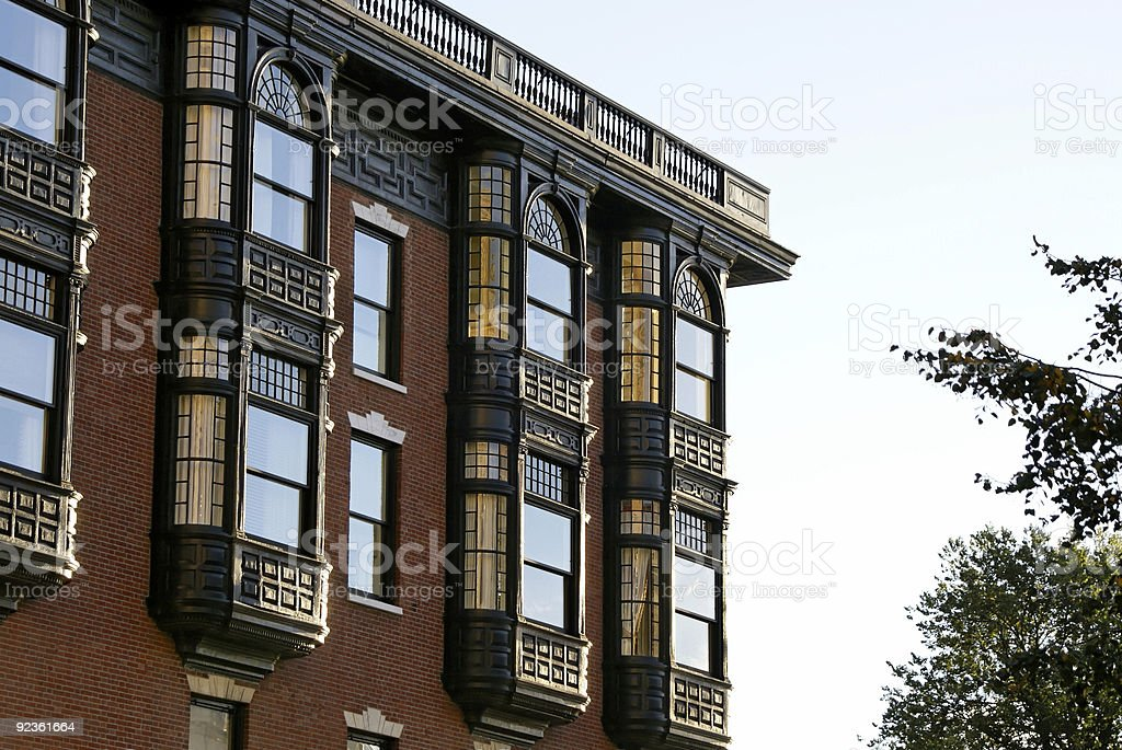 old brownstone stock photo