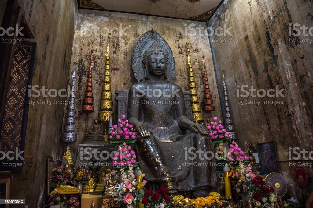 Old Buddha image at Wat Na Pha Meru in Ayutthaya, thailand royalty-free stock photo