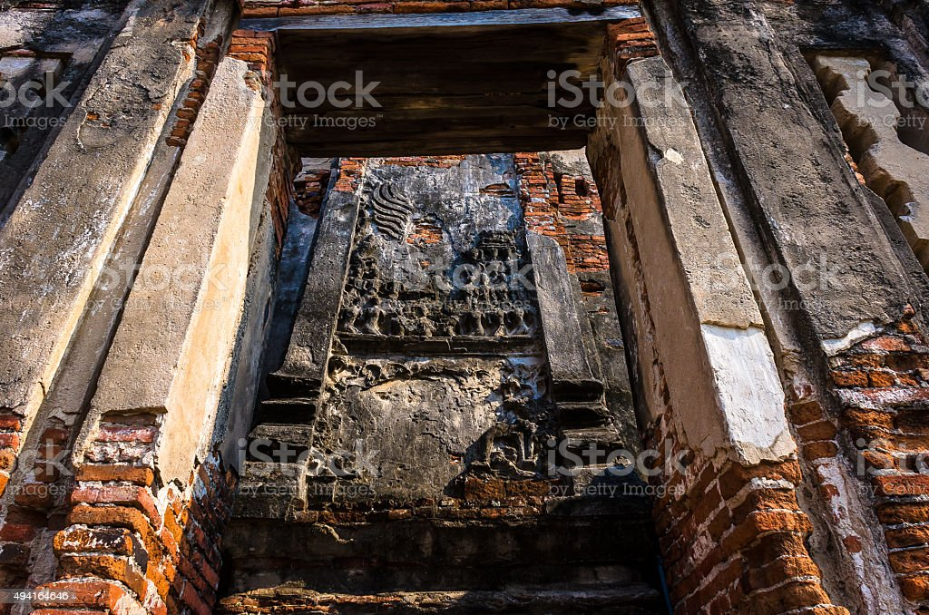 Old Buddha statue at World Heritage Site in Ayutthaya stock photo