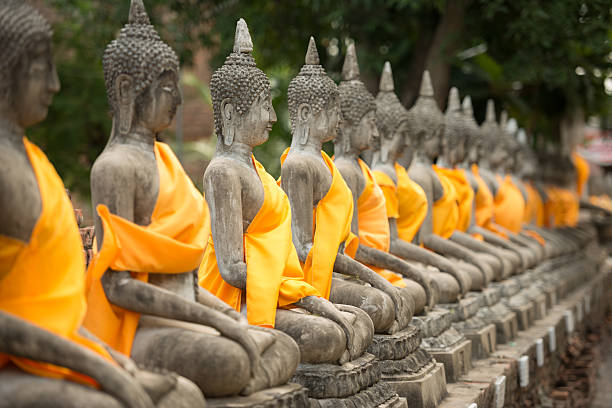 old Buddha statue in temple at Ayutthaya stock photo