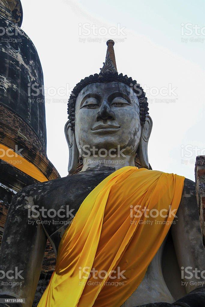 Old Buddha Status at wat yai chaimongkol royalty-free stock photo