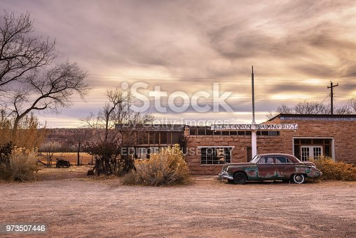 Bluff, Utah, USA - December 31, 2017 : The 1949 Buick Super parked in front of Cow Canyon Trading Post in Bluff, Utah