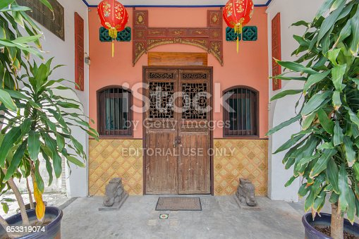 istock PHUKET, THAILAND - SEPTEMBER 28, 2014 : Old building Chinese and Sino Portuguese style in Phuket on September 18, 2014 in Phuket, Thailand. Old building is a very famous tourist destination of Phuket. 653319074