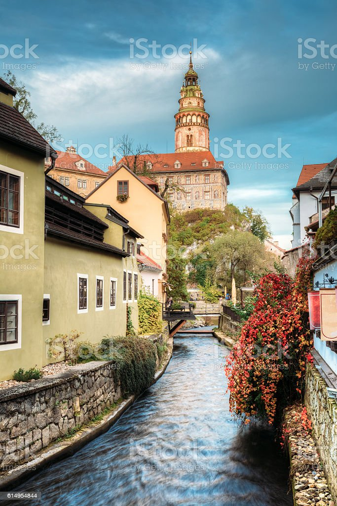 Old building in Cesky Krumlov, Czech republic. Autumn evening stock photo